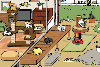 A screen shot from the game Neko Atsume.