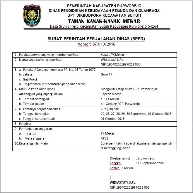 Contoh Surat Tugas dan SPPD Terbaru - Paxdhe Mboxdhe