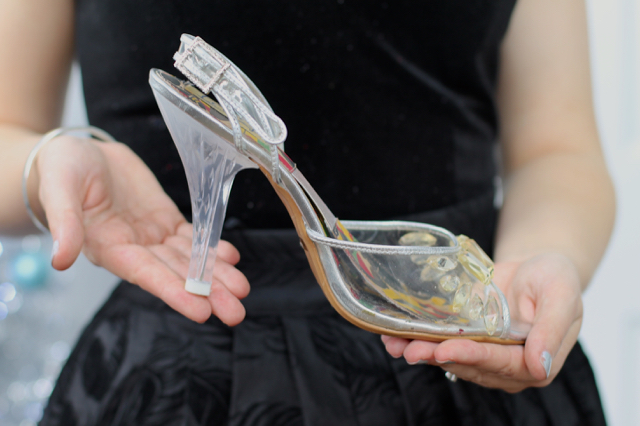 Miss L Fire Cinderella shoes in clear silver
