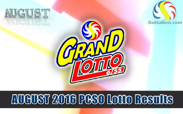 August 2016 GrandLotto 6/55 PCSO Lotto
