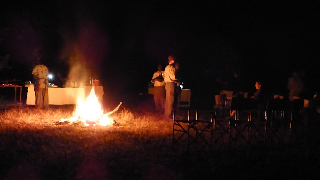 A bush dinner in the dark in Liwonde National Park