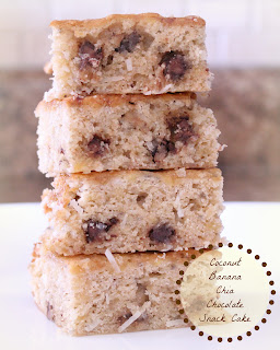 Coconut Banana Chia Chocolate Snack Cake from Jenn's Random Scraps
