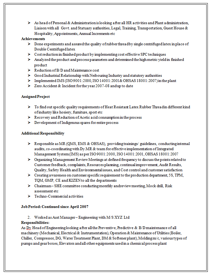 safety oriented resume