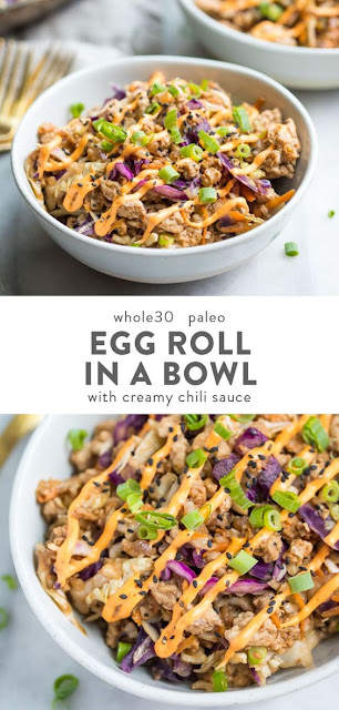 Egg Roll in a Bowl with Creamy Chili Sauce