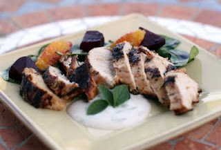 Grilled chicken with orange and beet salad