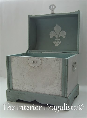 Small decorative trunk makeover inside the lid After