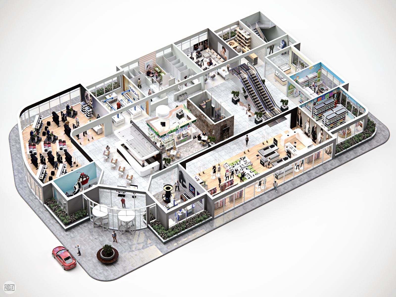 Shopping center conceptual 3d floor plan jericho domingo - Hotel design planning and development ebook ...