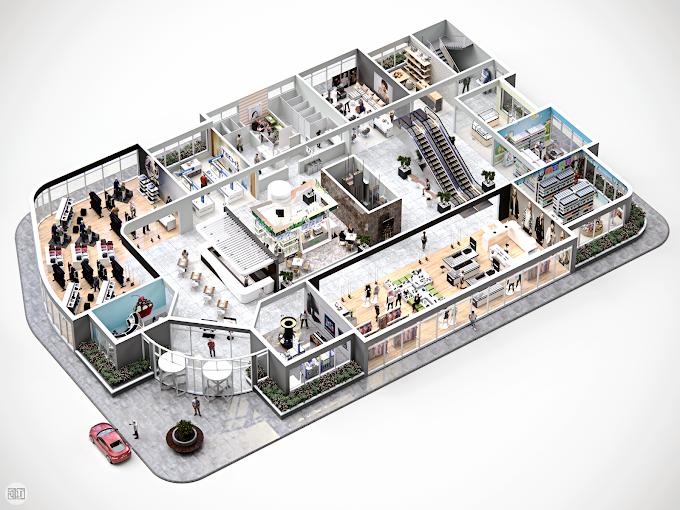 Shopping Center Conceptual 3D Floor Plan