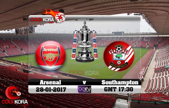 مشاهدة مباراة ساوثهامبتون وآرسنال اليوم 28-1-2017 في كأس الإتحاد الإنجليزي