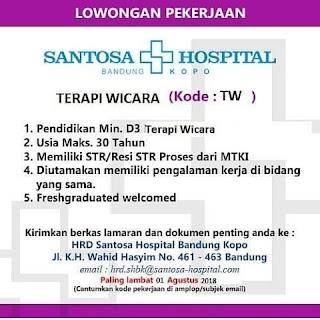 Lowongan Kerja Rumah Sakit Santosa Bandung (Santosa Hospital) 2019