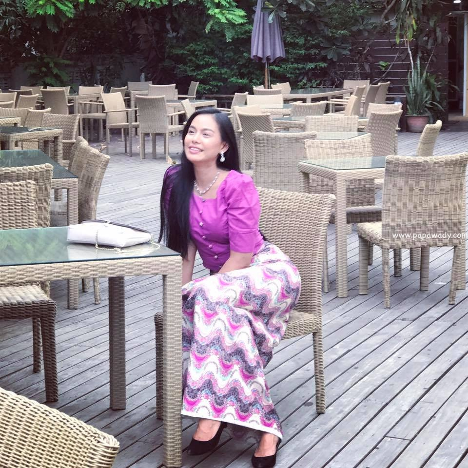 Aye Wut Yi Thaung In Purple Burmese Outfit Fashion Style