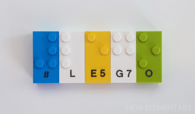 Prototype LEGO Braille Bricks showing the symbol # and the word LEGO.