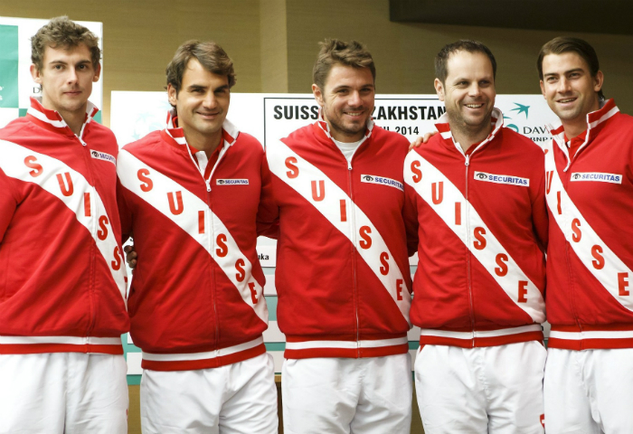From left to right: Henri Laaksonen, Roger Federer, Stanislas Wawrinka, Severin Lüthi (Team Captain) and Michael Lammer • Tennis Players