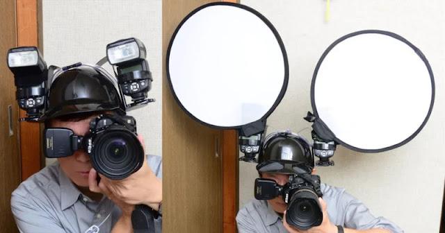Questo fotografo utilizza un casco porta-birre come sostegno per flash