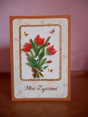 kartka quillingowa z tulipanami