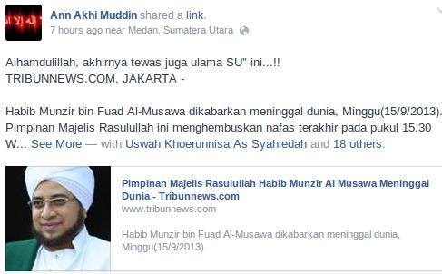 Khawarij Gembira Habib Munzir Al Musawwa Meninggal