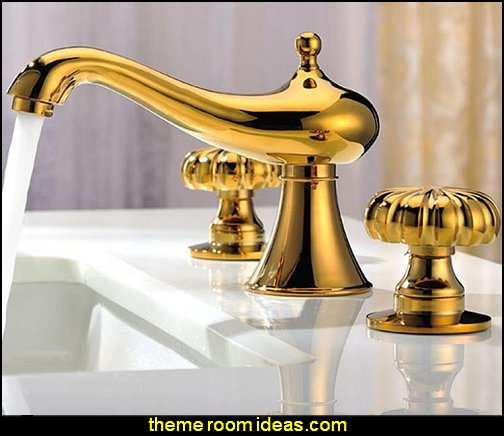 Gold Double Round Handles Bathroom Sink Faucet