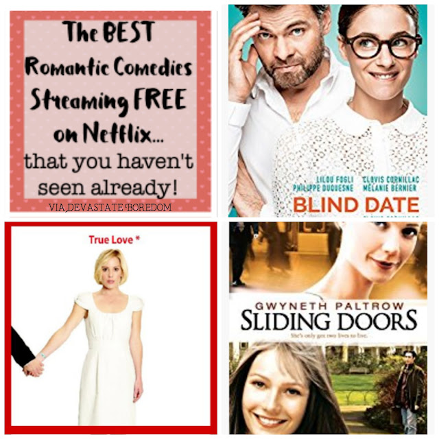 What to watch and what NOT to watch -- movie reviews of romantic comedies streaming free on Netflix!  Rom coms you haven't seen already -- something new to stream online!  Great movies, and a terrible one too, review of Blind Date, Timer, Sliding Doors, and Cafe Society, via Devastate Boredom