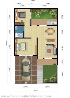Denah rumah minimalis 2 kamar tidur modern