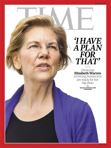 image of Elizabeth Warren featured on the cover of Time magazine