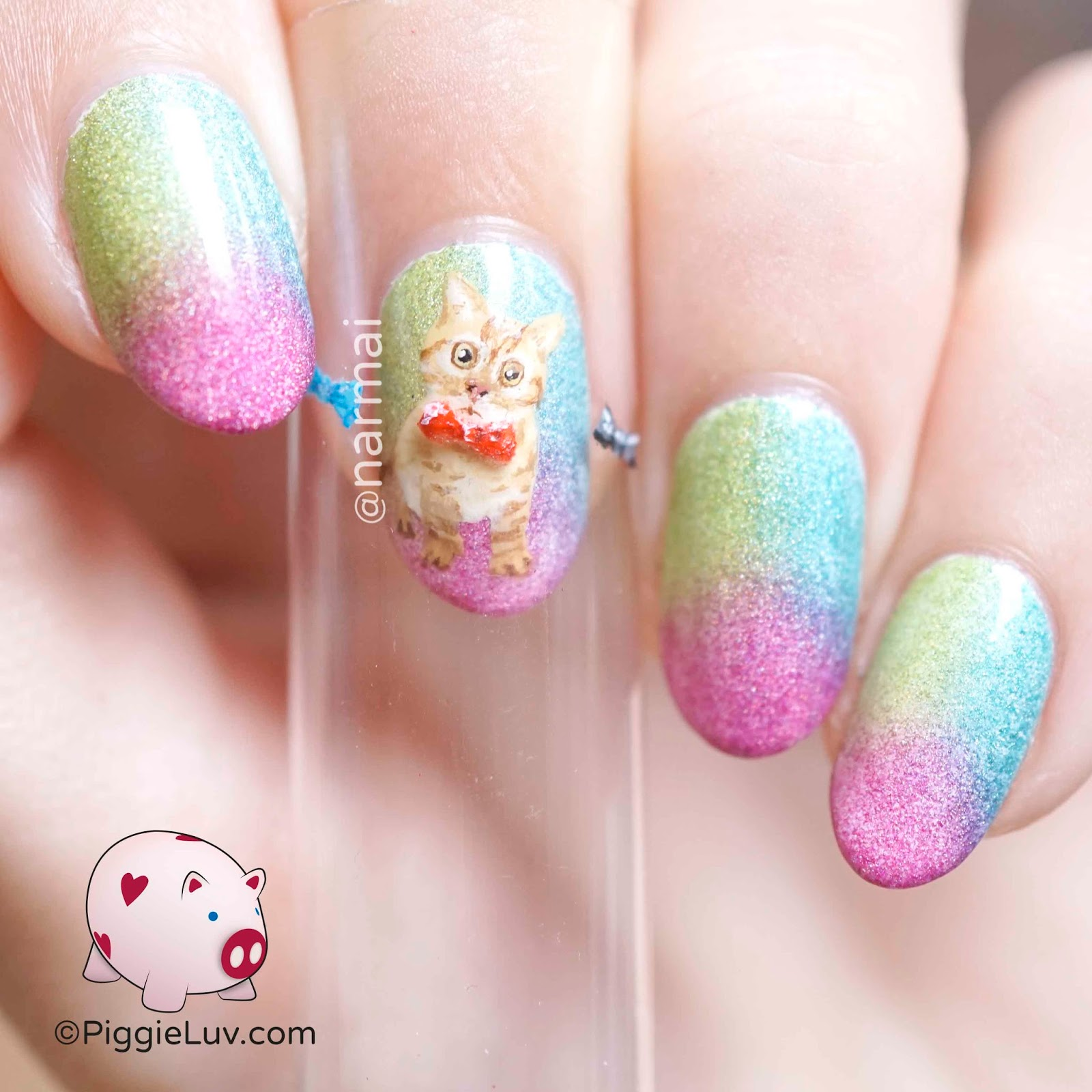 PiggieLuv: Kitten with changing bowties nail art