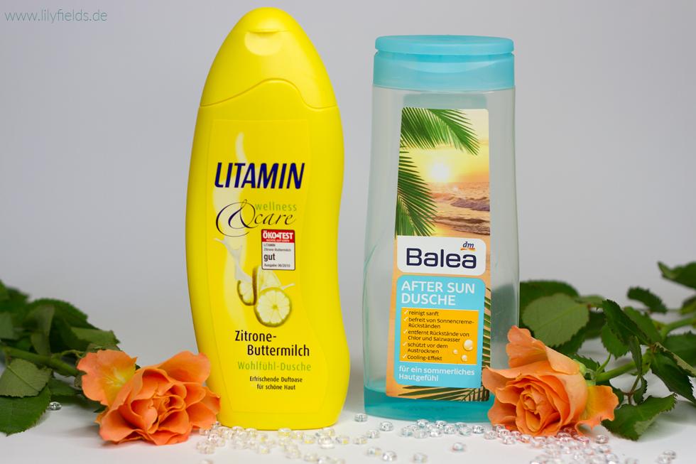 Ein Foto von den Duschgels Litamin Zitrone-Buttermlich und Balea After Sun Dusche