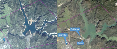 Flood before and after dam fail