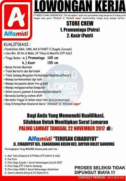 Lowongan Kerja Alfamidi Bandung November 2017