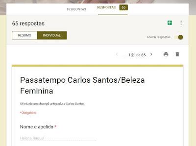 Resultado do passatempo Carlos Santos
