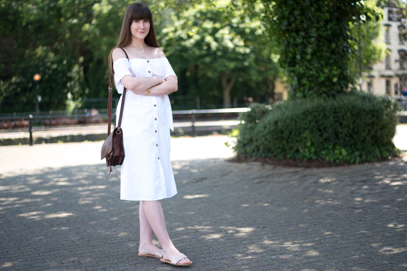 White Bardot Button Dress