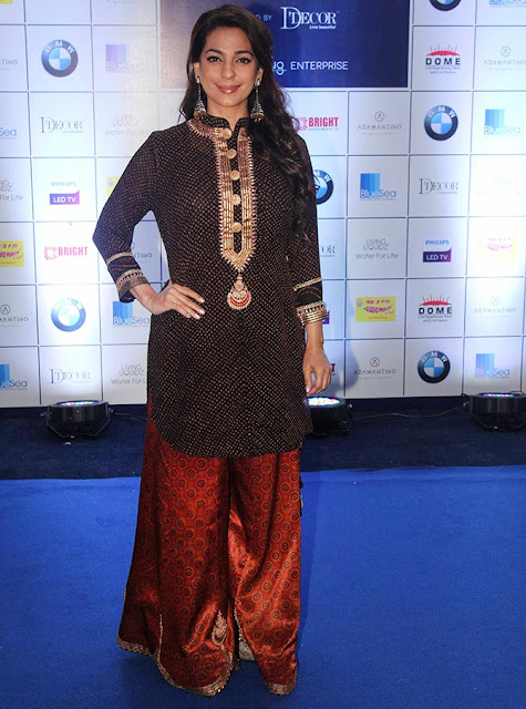 Juhi Chawla in Bandani Sharara Outfit by Sangeeta Kilachand