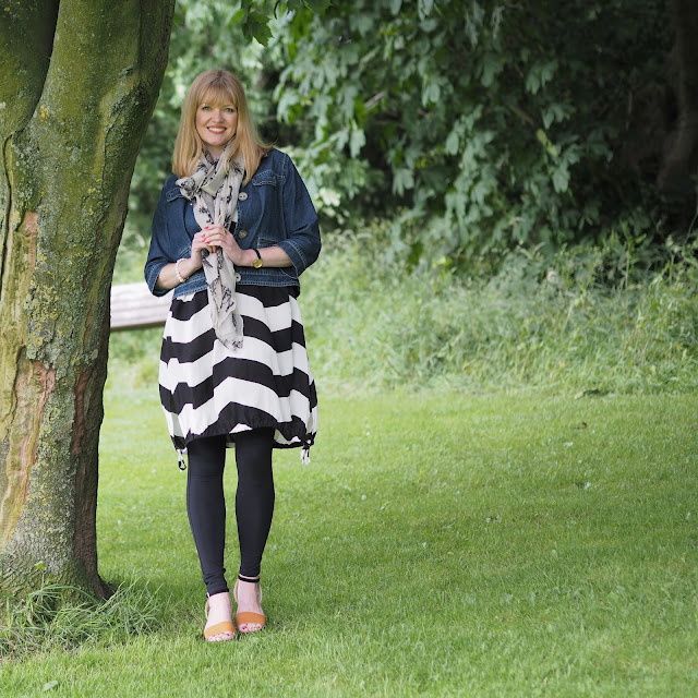 Black and white chevron dress and pineapple scarf. fashion over 40