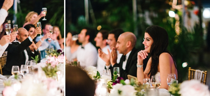 bride and grooms reaction to speeches and toasts