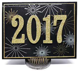 Linda Vich Creates: 2017 New Year's Cards. Fireworks in gold and silver embossing burst behind gold glimmer numerals on this festive New Year's card.