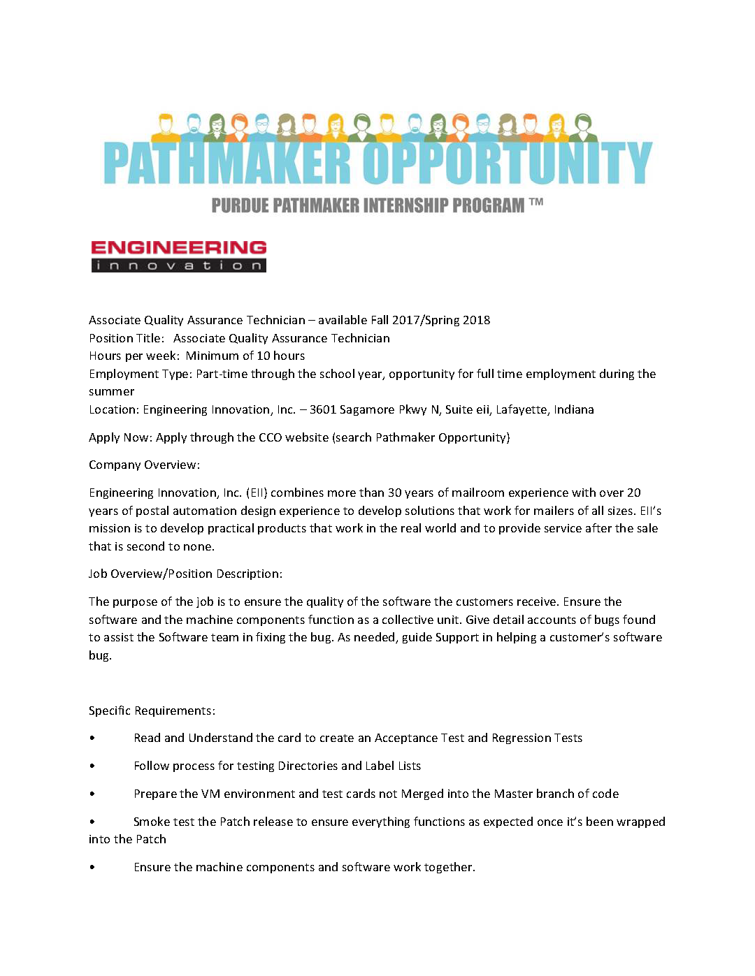 Pathmaker Opportunity Engineering Innovation Associate Quality - Quality Assurance Technician Job Description