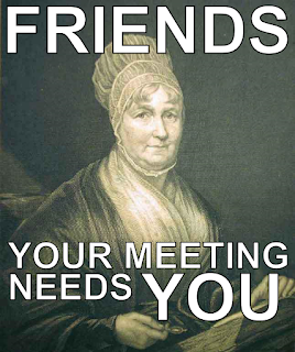 """Engraving of Elizabeth Fry, seeming to look at the reader, overlaid with text reading """"Friends - your Meeting needs YOU"""""""