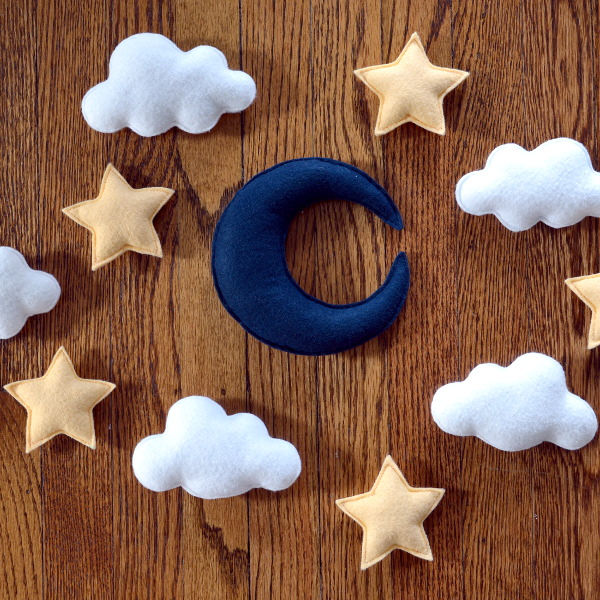 cozy birdhouse | moon and stars felt mobile