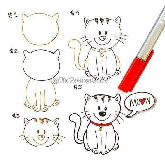 تعلم رسم قطة تعلم الرسم