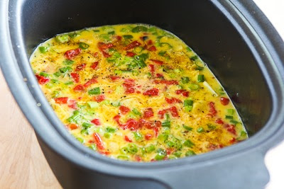 Slow Cooker Frittata Recipe with Artichoke Hearts, Roasted Red Pepper, and Feta [found on KalynsKitchen.com]