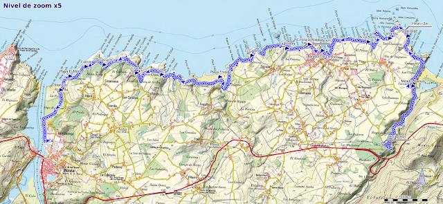 Mapa de la  senda Naviega