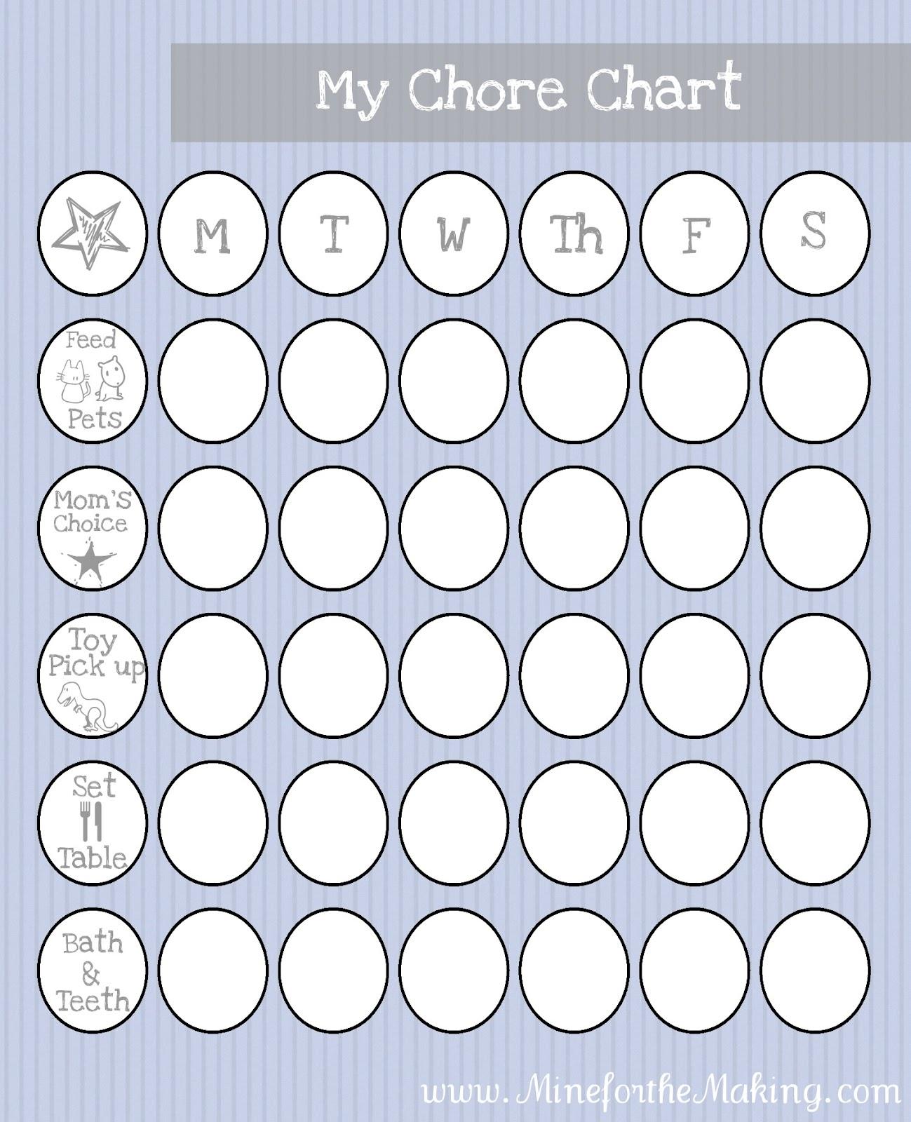 Toddler Pre K Chore Chart Printable
