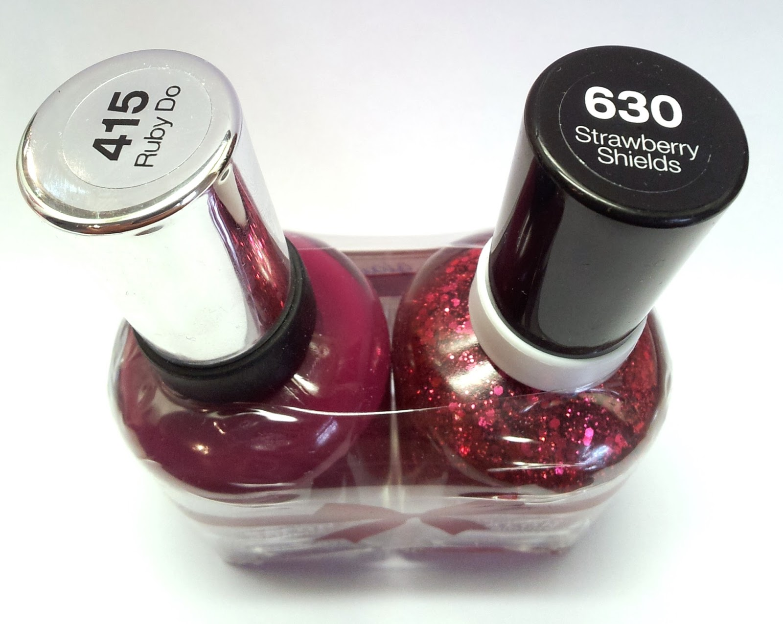 Sally Hansen 415 Ruby Do & 630 Strawberry Shields