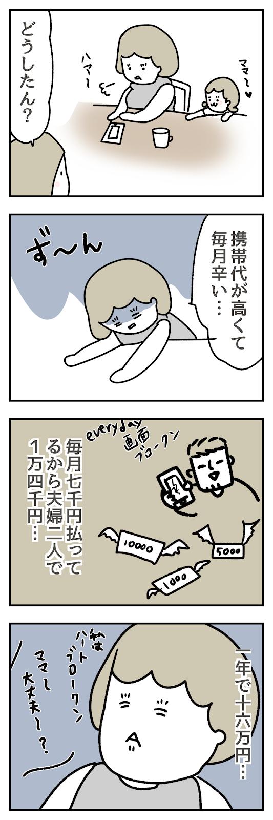 毎月の携帯代が高くて悩んでいる人の漫画