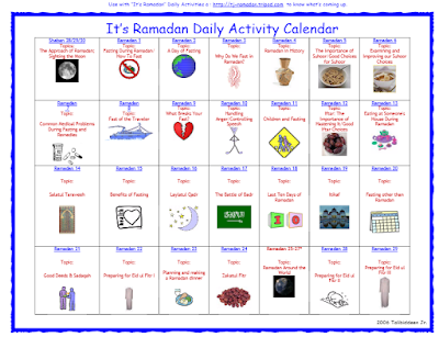 It's Ramadan Curriculum Calendar