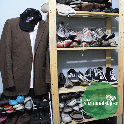 A selection of shoes and shirts from the Free Store