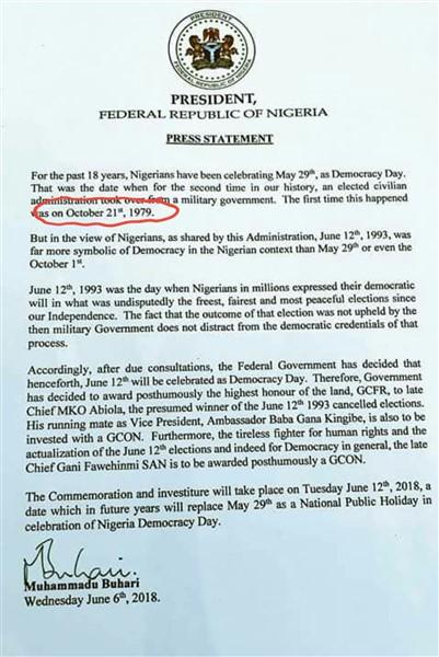June 12: Obasanjo handed over power October 1st 1979 not October 21th 1979
