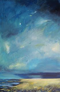 vadehav, måger, fugleliv, ayoe l l ploger, himmel, skyer, vadehav,kunst, galleri, marsk, noget til væggen, art, glade farver, kunst, maleri, raps