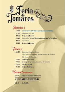 FERIA DE TOMARES 2018  - Programa días 5, 6 y 7 de septiembre