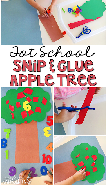 This snip and stamp apple tree is great for number and fine motor practice with a Chicka Chicka 123 theme. Great for tot school, preschool, or even kindergarten!