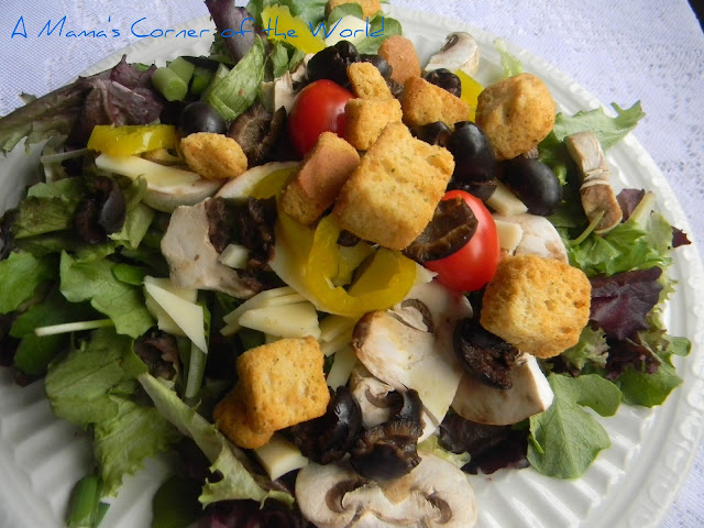 random leftovers on a plate as a balanced, healthy lunch salad